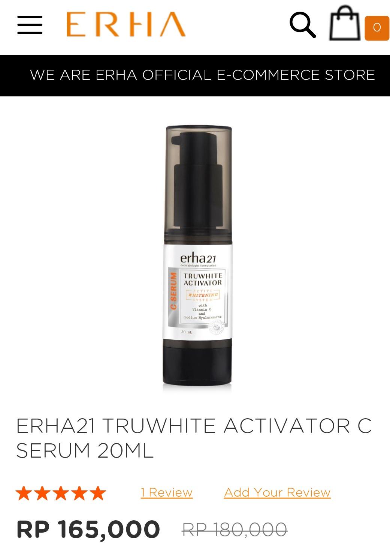 Harga Truwhite Activator C Serum Erha
