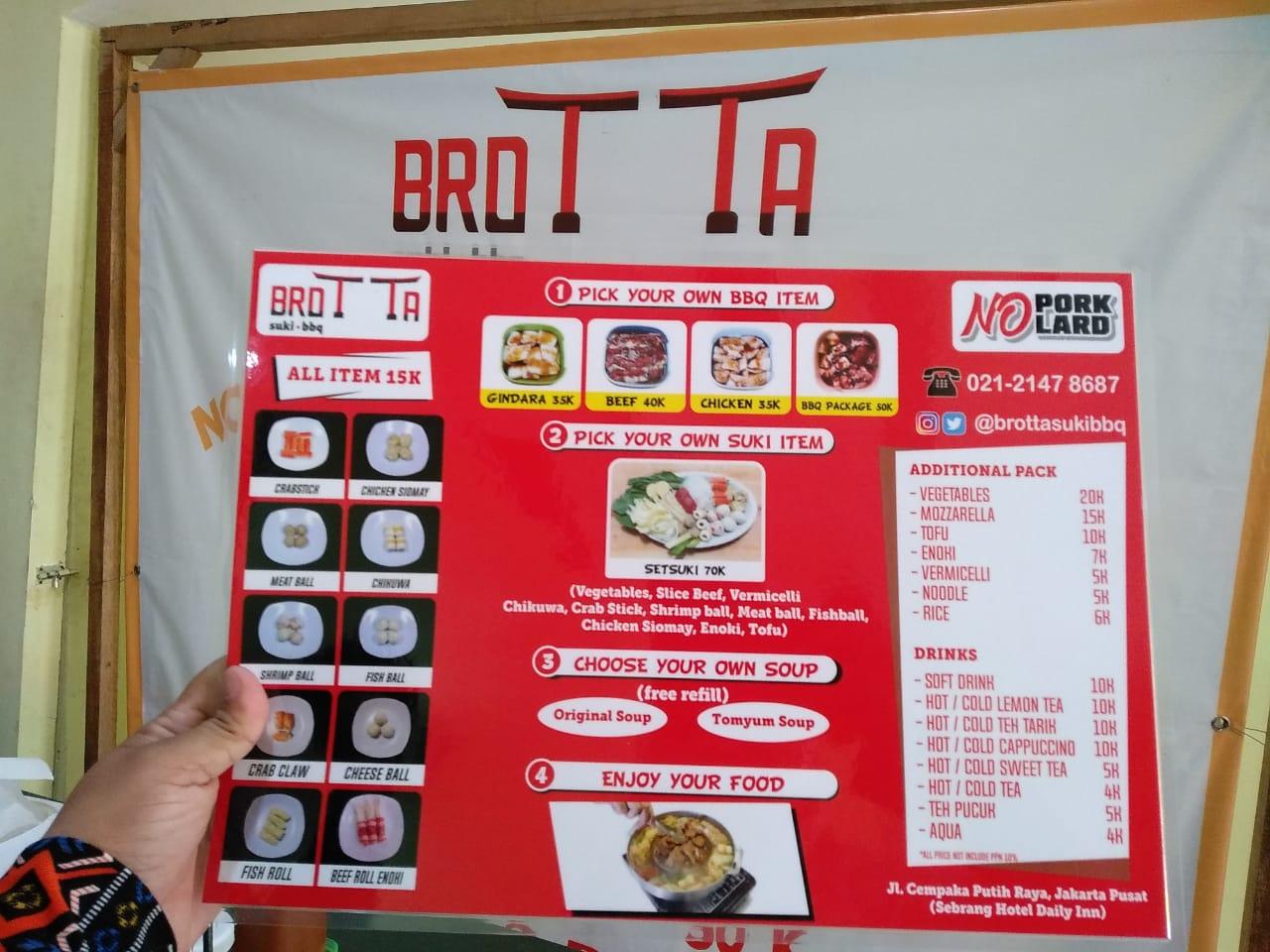 Daftar menu dan harga dari Brotta Suki BBQ