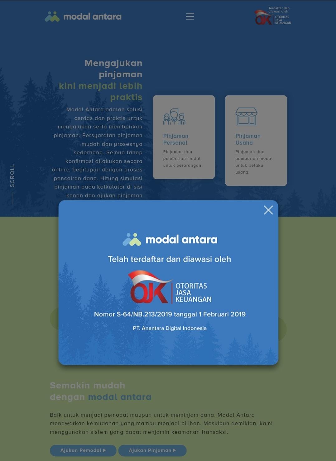 Modal Antara, salah satu fintech atau layanan pinjaman online yang terdaftar di OJK