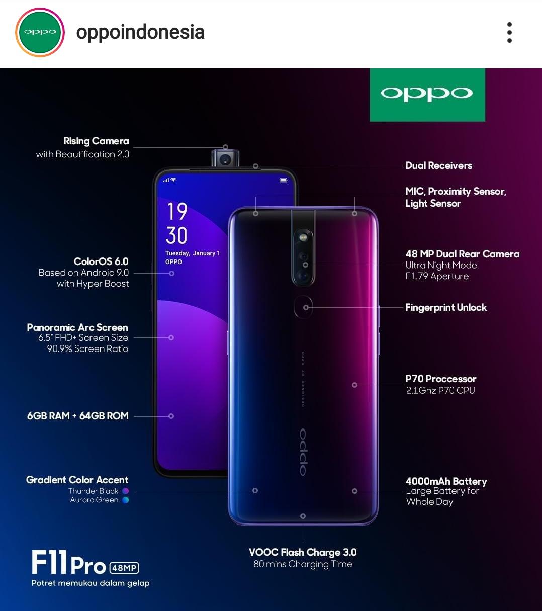 Fitur yang dimiliki oleh OPPO F11 Pro.