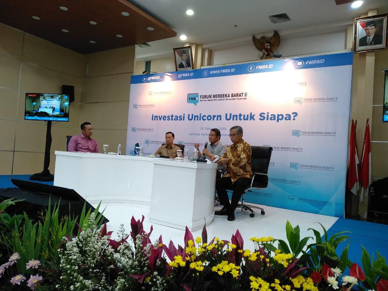 """Forum diskusi media atau FMB 9 dengan tema """"Investasi Unicorn untuk Siapa""""."""