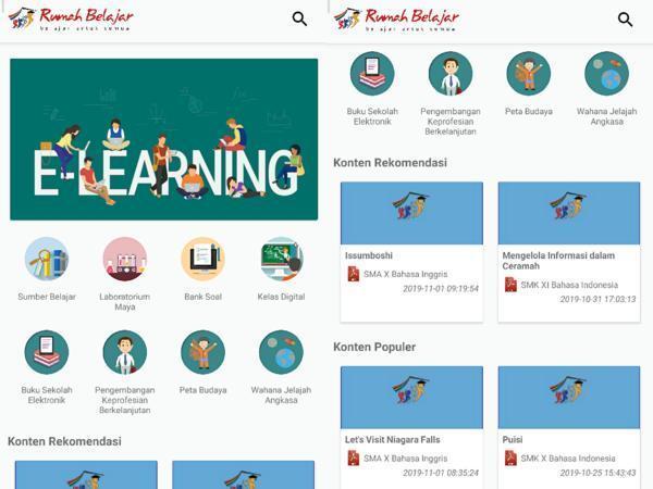 Fitur di aplikasi Rumah Belajar